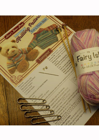 "Knitting Kit - to make a Jumper for a 35cm/14"" Teddy Bear - Alice's Bear Shop"