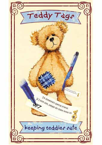 Teddy Tags Complete Kit of 10 Tags and Pilot Pen- Keeping Teddies Safe - Alice's Bear Shop - Alice's Bear Shop