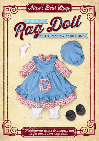Download - Pattern and Instructions - Rag Doll Traditional Dress Outfit to fit our 54cm Rag Doll