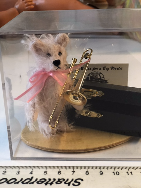 Miniature Pink Mohair Teddy Bear with Trombone