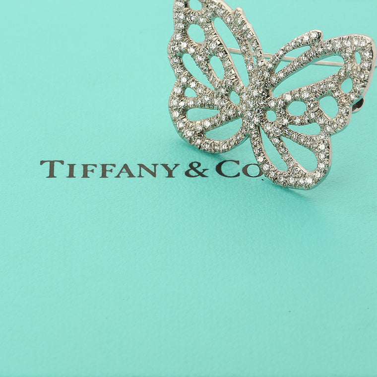 Vintage Tiffany & Co platinum and diamond butterfly brooch by Angela Cummings