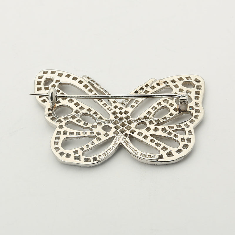 Vintage Tiffany & Co platinum and diamond butterfly brooch by Angela Cummings - Terrafinejewelry