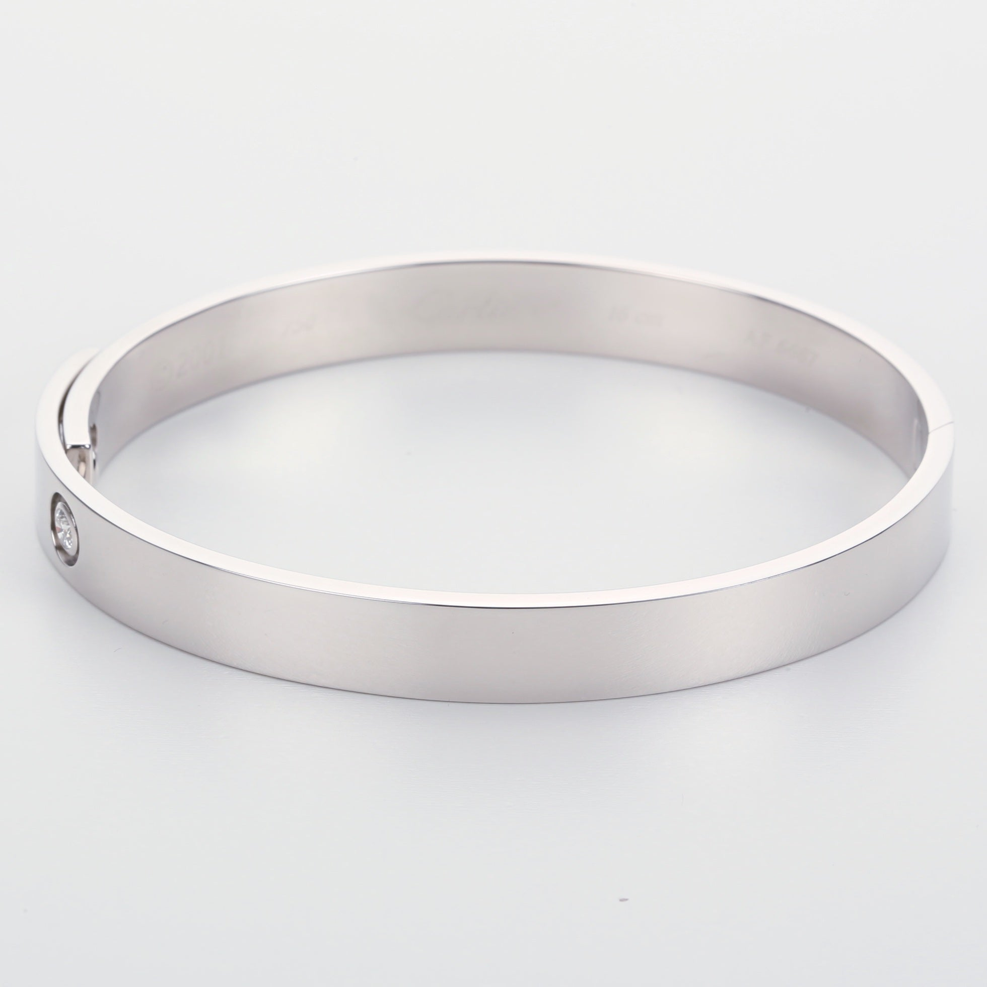 Vintage white gold Cartier 2001 anniversary bangle bracelet size 16 with box