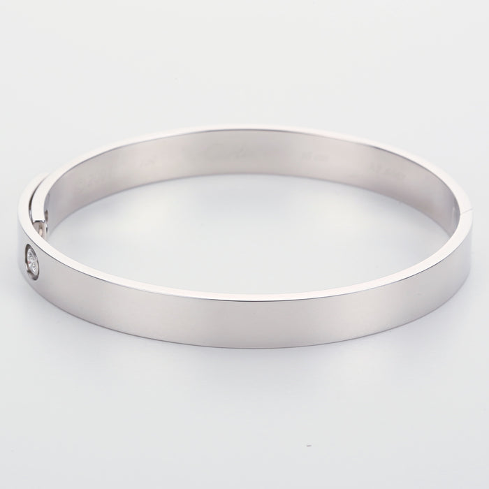 Vintage white gold Cartier 2001 anniversary bangle bracelet size 16 with box - Terrafinejewelry