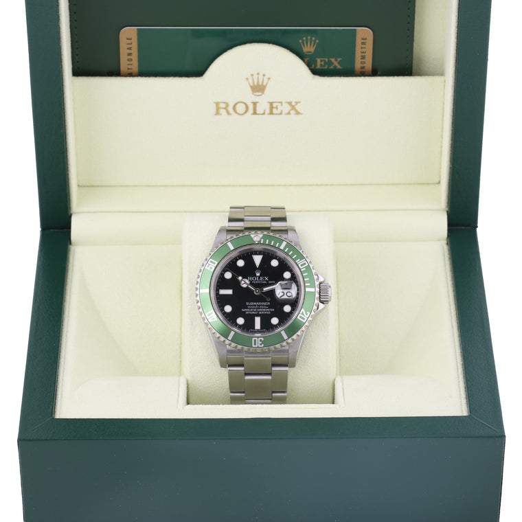 Stainless steel Rolex submariner anniversary ref 16610v green bezel box & papers.