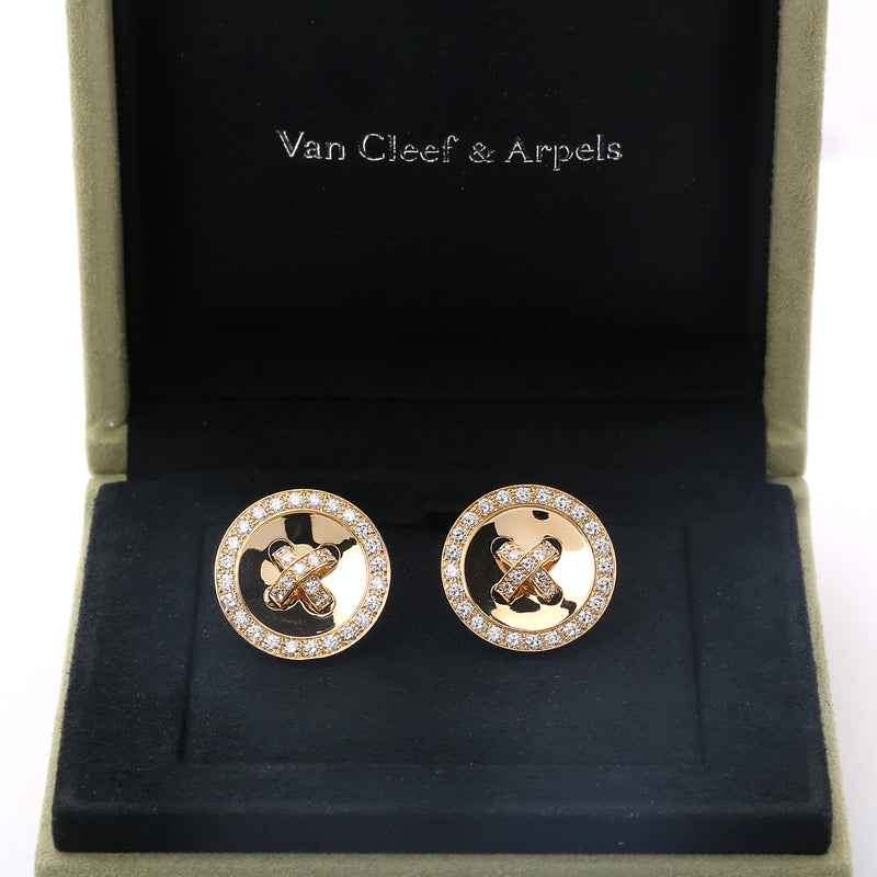18k yellow gold and diamonds Van Cleef & Arpels Button Boutonnière earrings - Terrafinejewelry