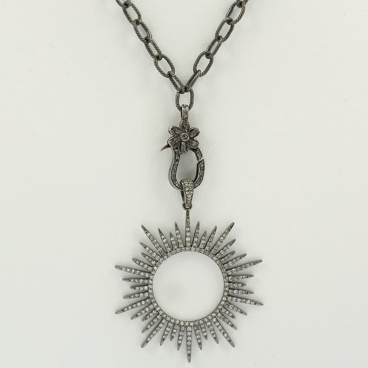 Blackened 925 Silver and natural diamond 18in long chain with sun motif pendant
