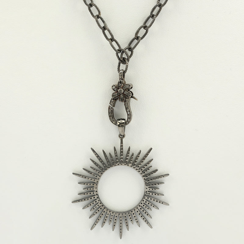 Blackened 925 Silver and natural diamond 18in long chain with sun motif pendant - Terrafinejewelry