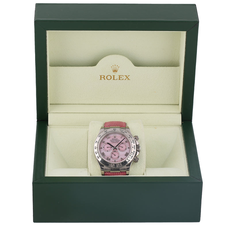 Rolex Oyster Perpetual Daytona Beach pink mother of pearl ref 116519 with box - Terrafinejewelry