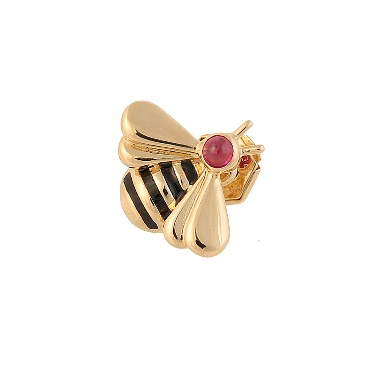 Vintage 18k yellow gold enamel and ruby Cartier Bee pin brooch