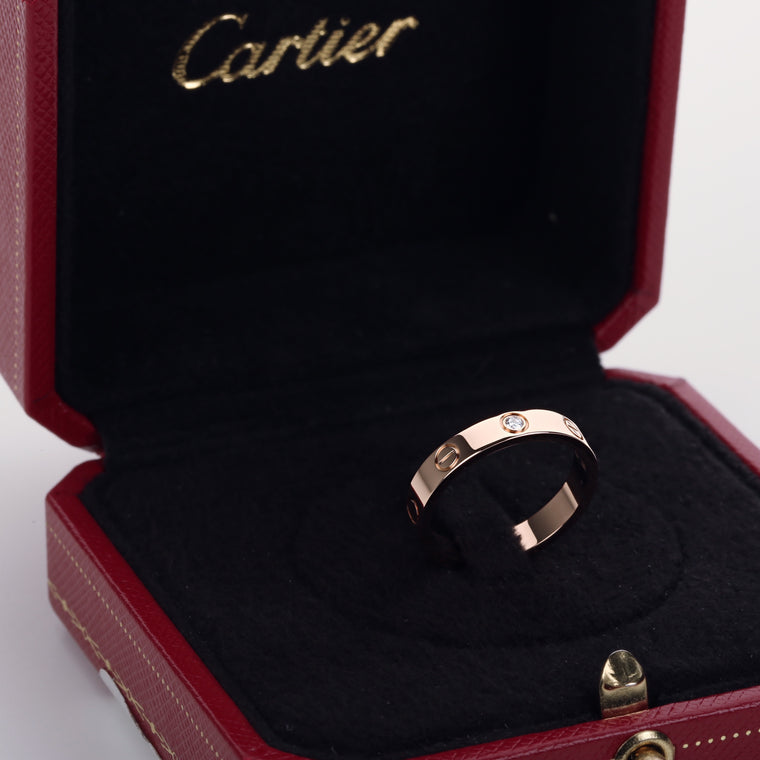 18k pink gold cartier love wedding band 1 diamond size 53EU 6.5US with box