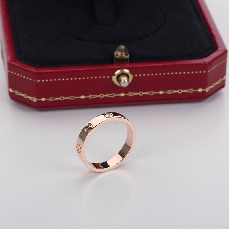 18k pink gold cartier love wedding band 1 diamond size 53EU 6.5US with box - Terrafinejewelry