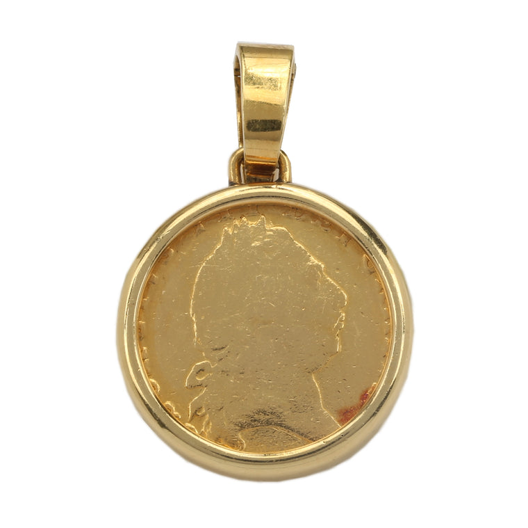 18k yellow gold Bulgari King III George one Guinea coin pendant by Bvlgari NY