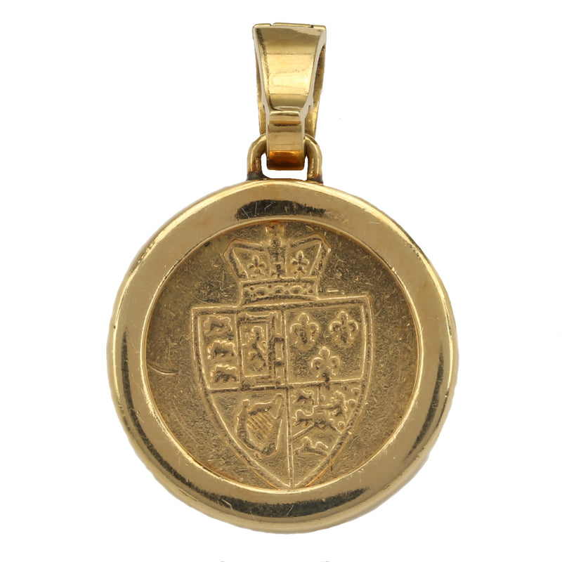 18k yellow gold Bulgari King III George one Guinea coin pendant by Bvlgari NY - Terrafinejewelry