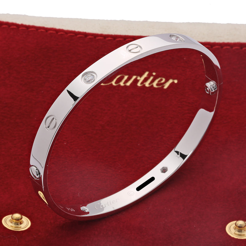 18k white gold 4 diamonds Cartier Love Bangle Bracelet size 19 classic screw - Terrafinejewelry