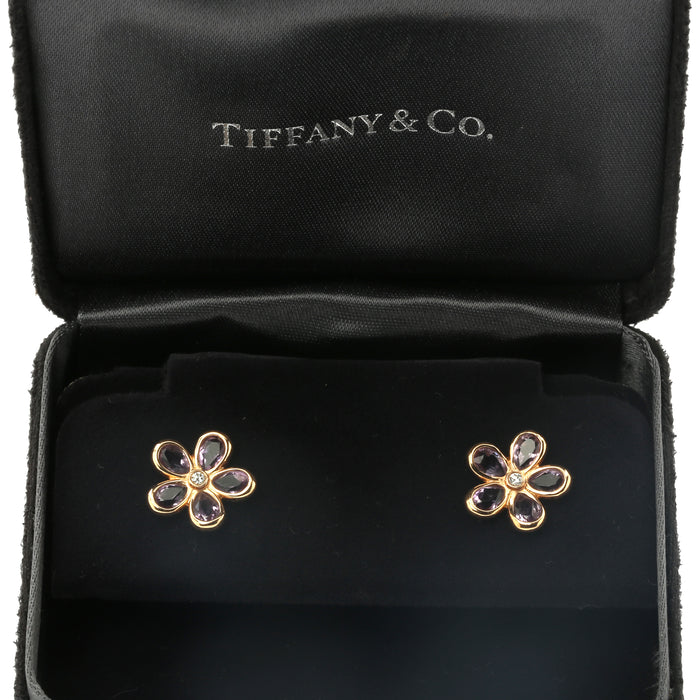 18K Rose gold amethyst and diamond Tiffany & Co floral daisy stud earrings. 13mm - Terrafinejewelry