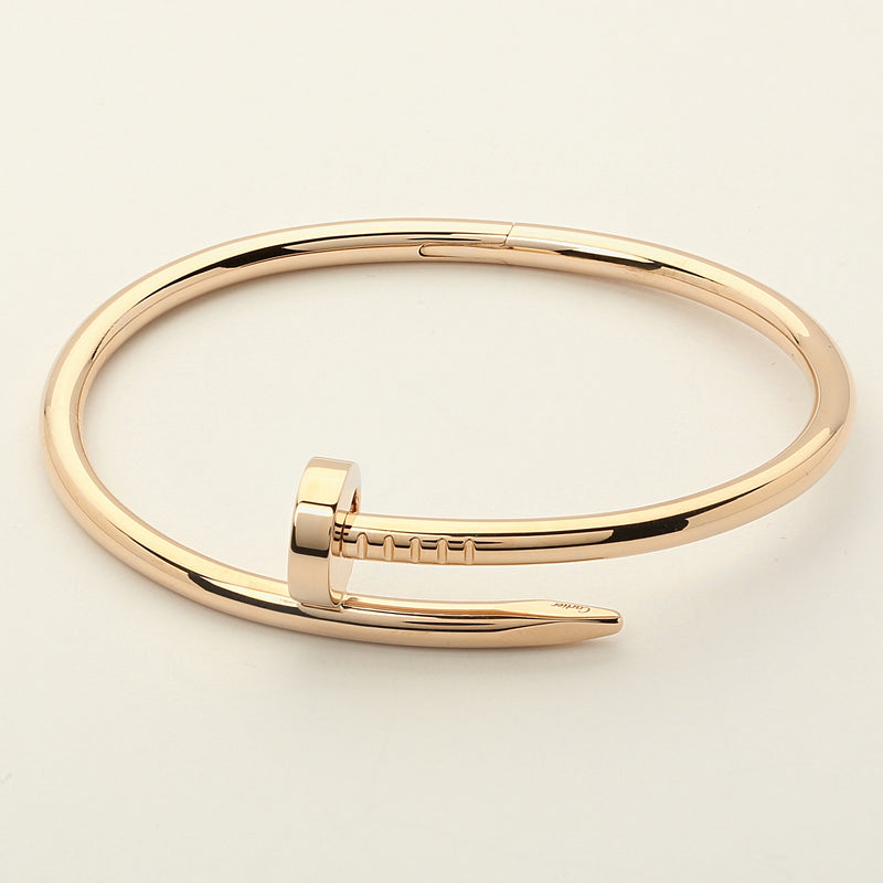 "18k rose gold Cartier Juste un Clou ""Nail"" bangle bracelet size 16 box & papers - Terrafinejewelry"