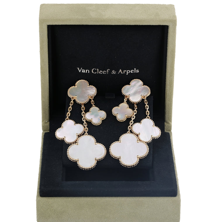 18k yellow gold mother of pearl Van Cleef & Arpels magic Alhambra earrings 4 motifs