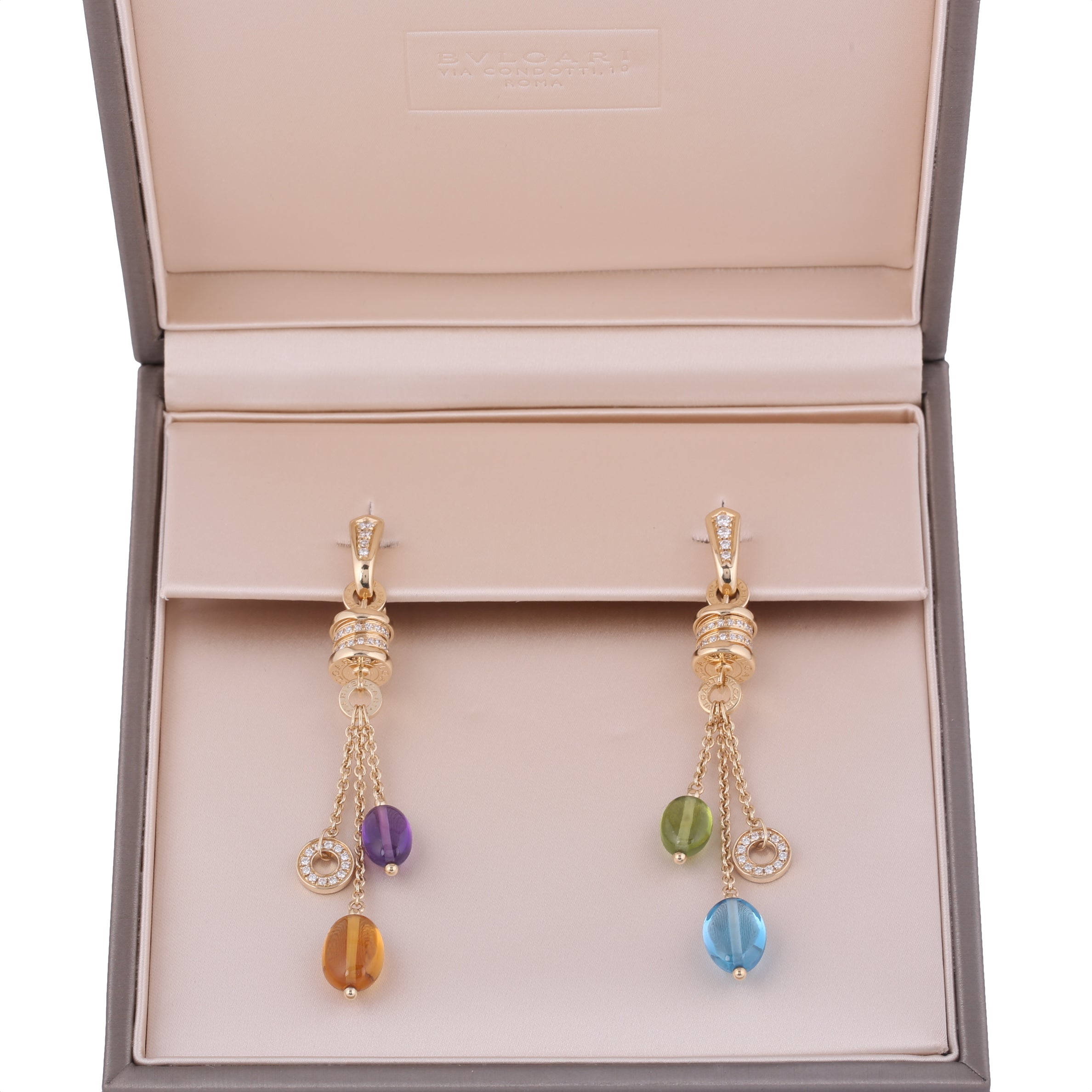 18k yellow gold Bvlgari Bulgari B zero1 diamond multicolor gem earrings with box - Terrafinejewelry