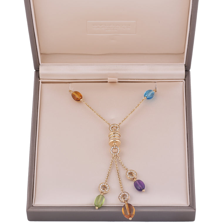 18k Yellow gold Bulgari Bvlgari B Zero1 diamond multi color gemstone Necklace.