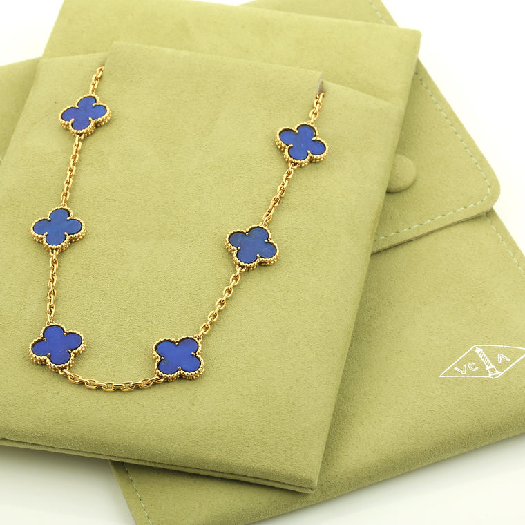 Vintage Van Cleef & Arpels Alhambra 20 motif necklace yellow gold Lapis Lazuli
