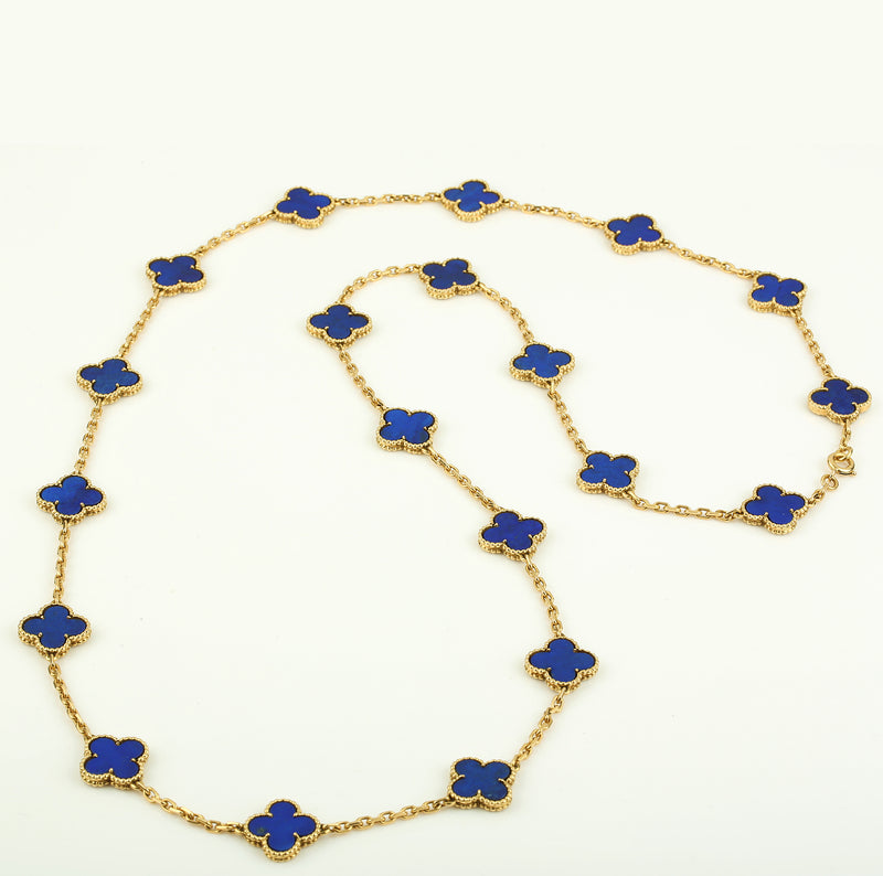 Vintage Van Cleef & Arpels Alhambra 20 motif necklace yellow gold Lapis Lazuli - Terrafinejewelry