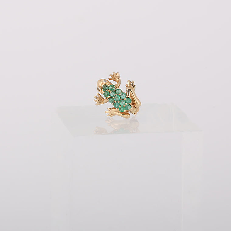 Vintage 14k yellow gold diamond and emerald frog pin brooch