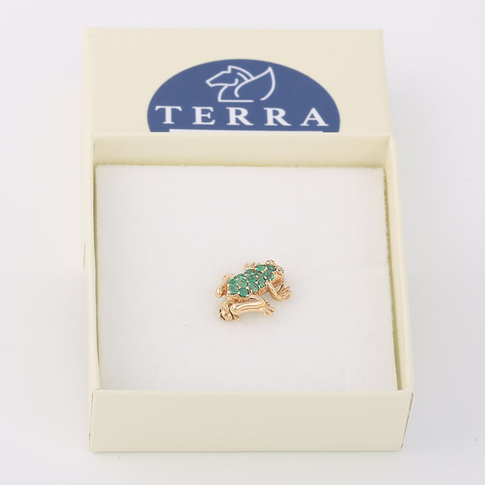 Vintage 14k yellow gold diamond and emerald frog pin brooch - Terrafinejewelry