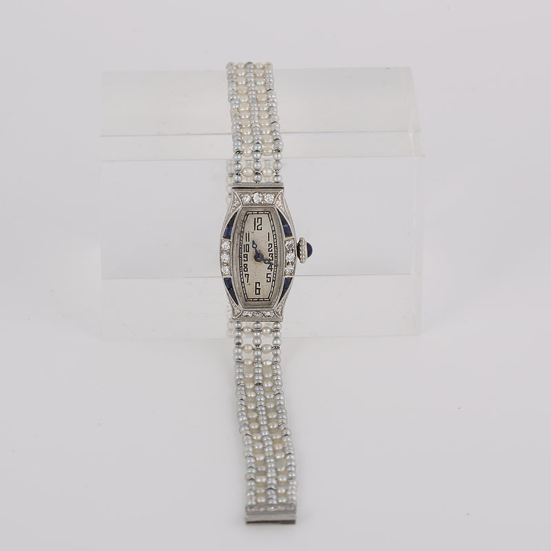 Antique art deco Platinum diamonds sapphire pearls ladies belle epoque watch - Terrafinejewelry