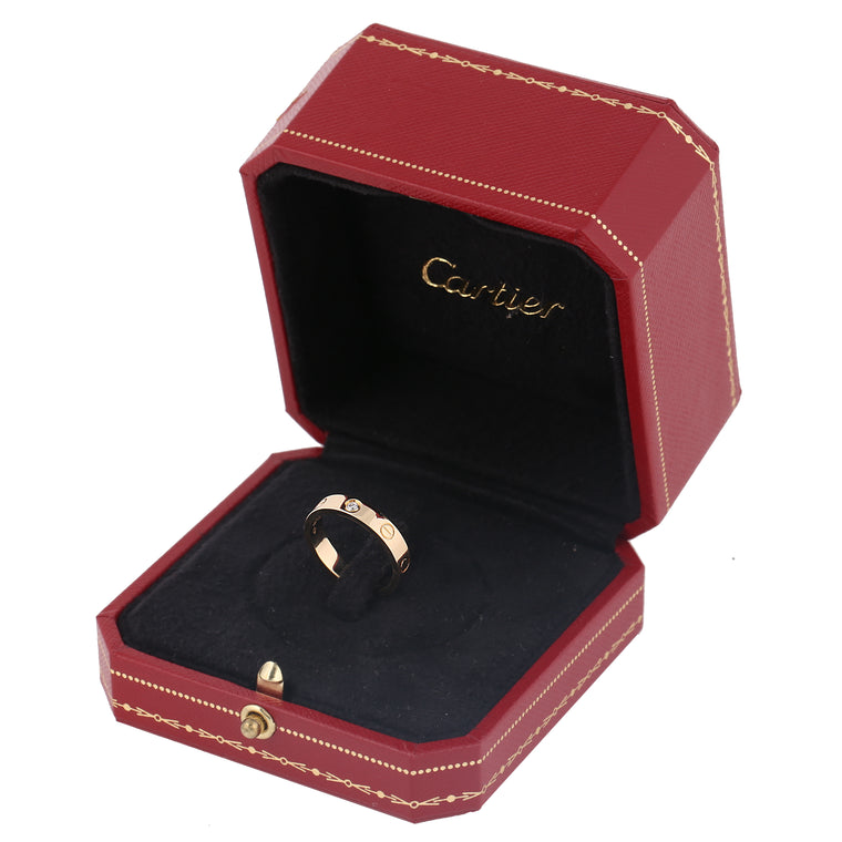 18k yellow gold Cartier love wedding band one diamond size 52EU 6.25US box cert