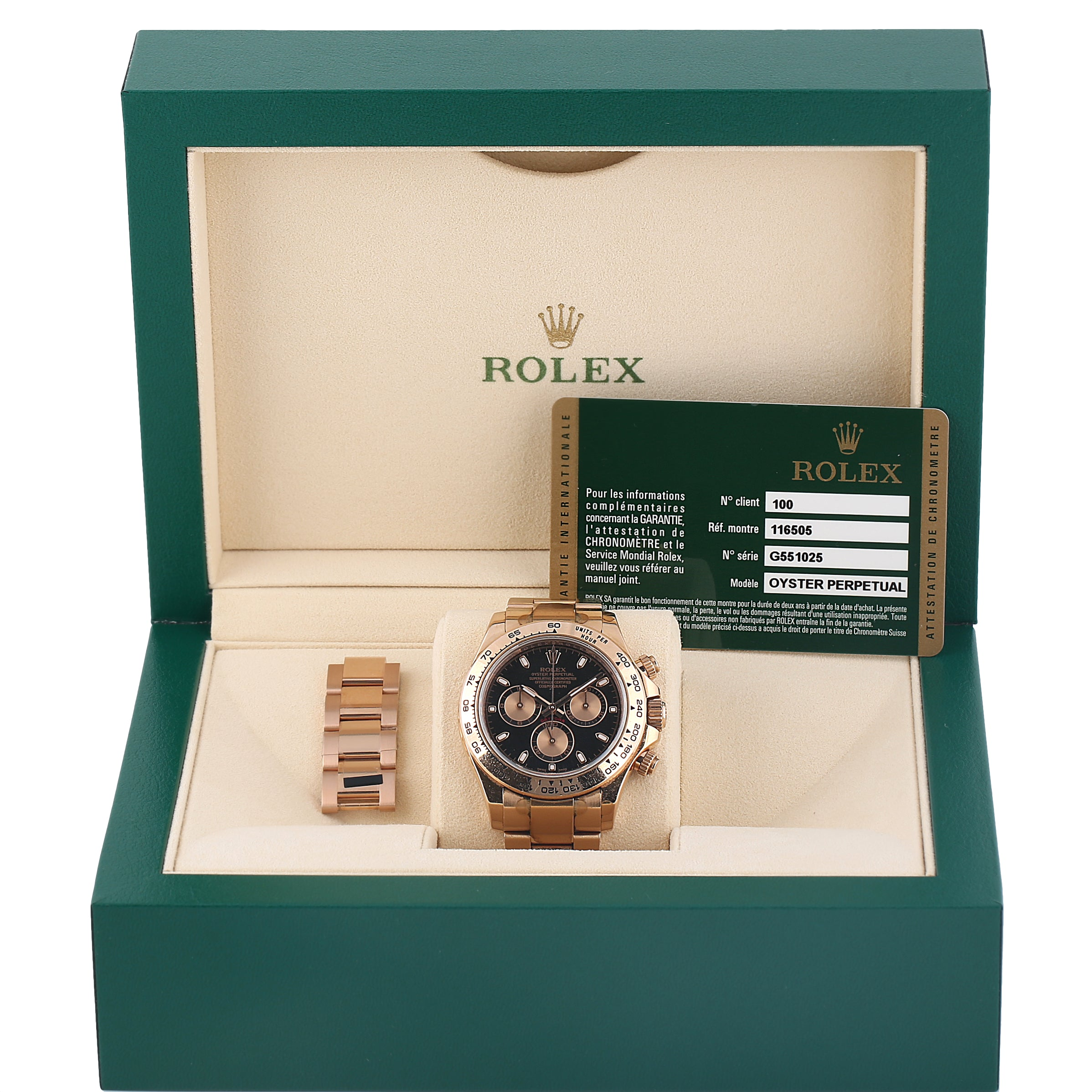 Rolex Oyster Perpetual Daytona everose gold G serial ref 116505 box & papers. - Terrafinejewelry