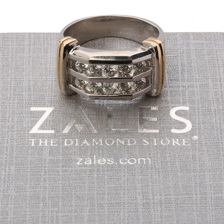 10k white and yellow gold 1 carat diamond men's ring. size 10 by Zales. with box