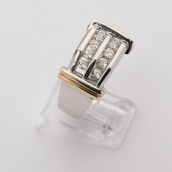10k white and yellow gold 1 carat diamond men's ring. size 10 by Zales. with box - Terrafinejewelry