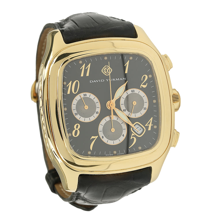 David Yurman 18K yellow gold thoroughbred men's chronograph watch limited