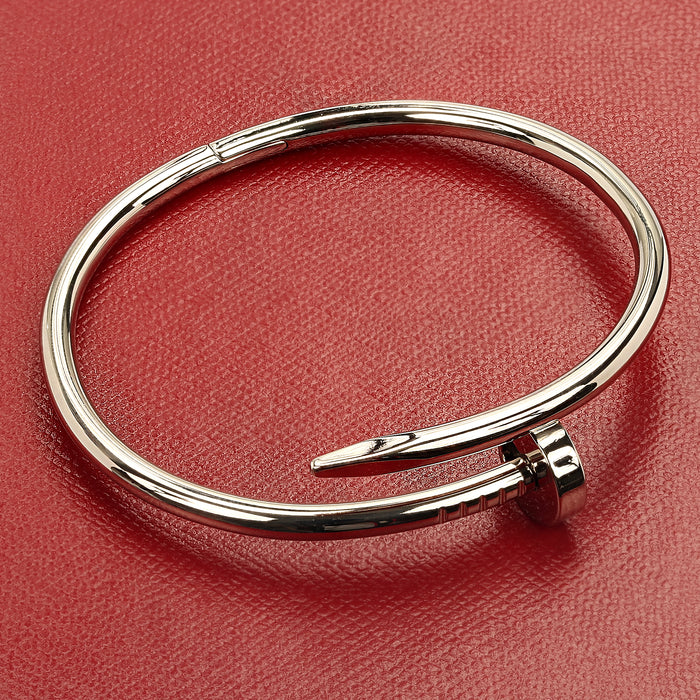 18k white gold Cartier Juste un Clou nail bangle bracelet, size 16 with box - Terrafinejewelry