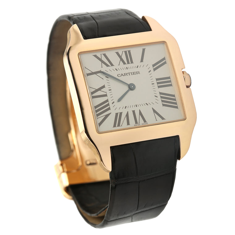 18k rose gold men's large Cartier Santos Dumont mechanical rhodium plated dial