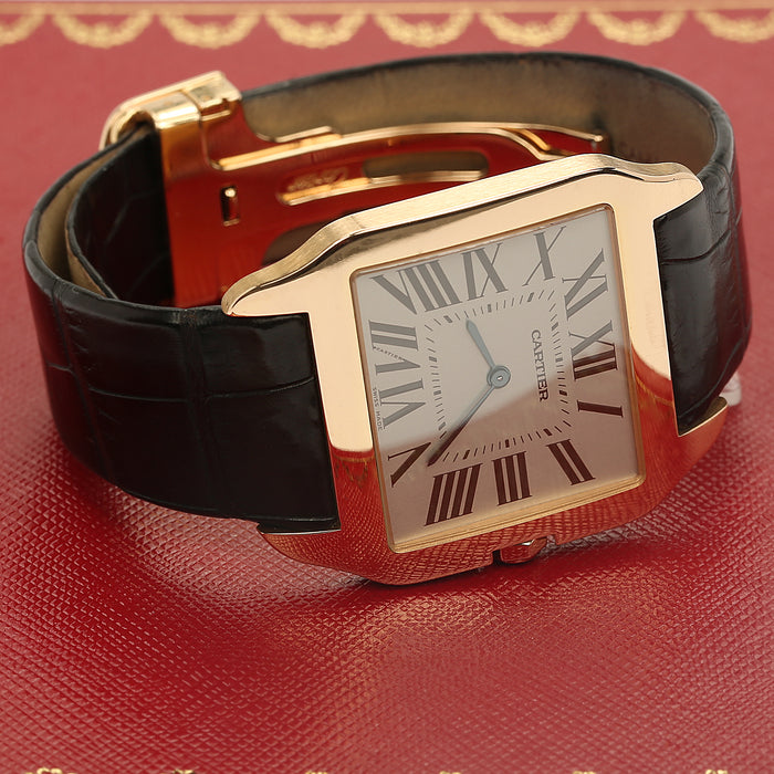 18k rose gold men's large Cartier Santos Dumont mechanical rhodium plated dial - Terrafinejewelry