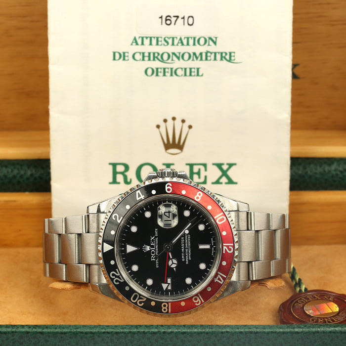"Stainless steel Rolex GMT Master II ""Coke"" bezel ref 16710 P serial men's watch - Terrafinejewelry"