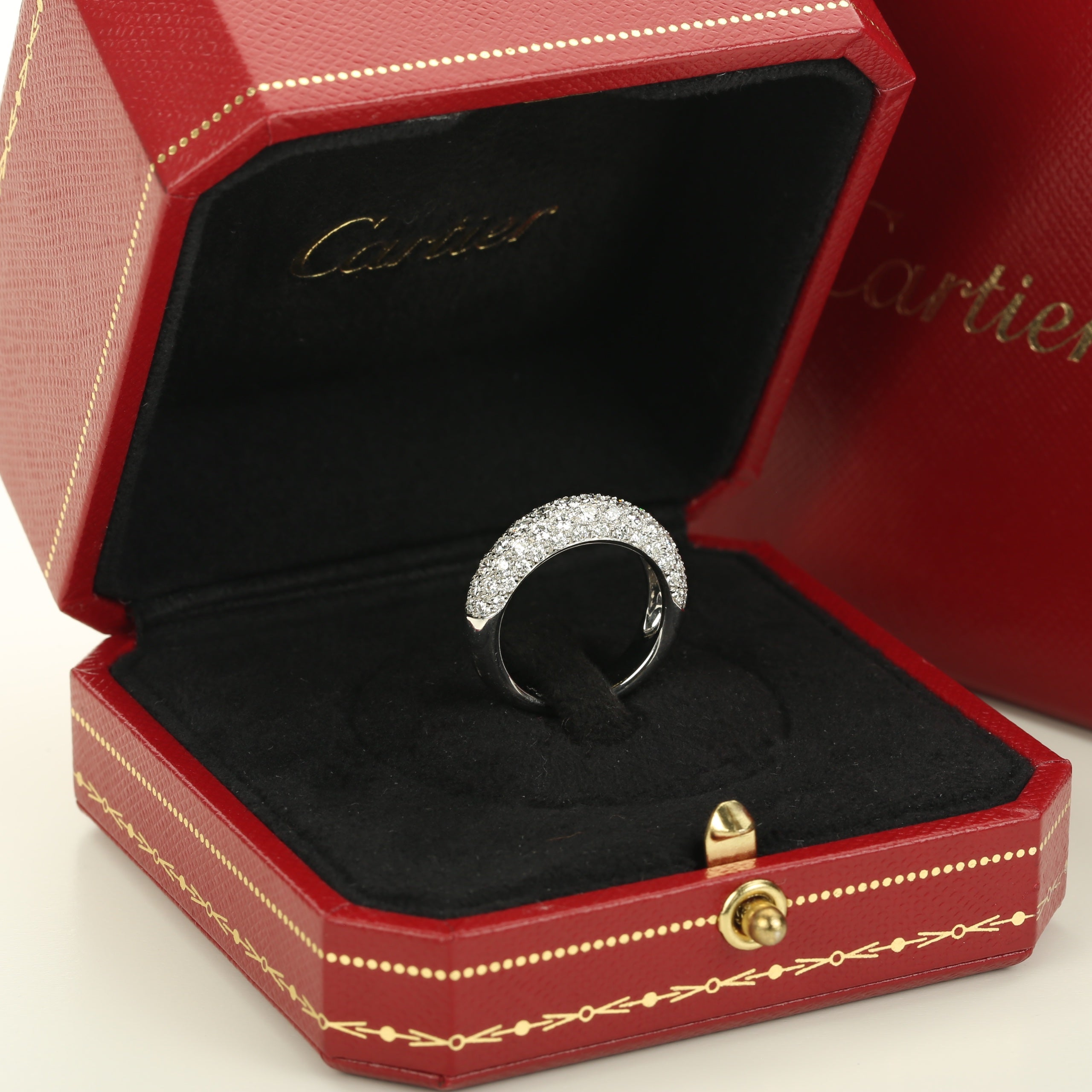 18K white gold and diamonds Étincelle de Cartier ring 1.33 cts size 51EU 5.75 US - Terrafinejewelry