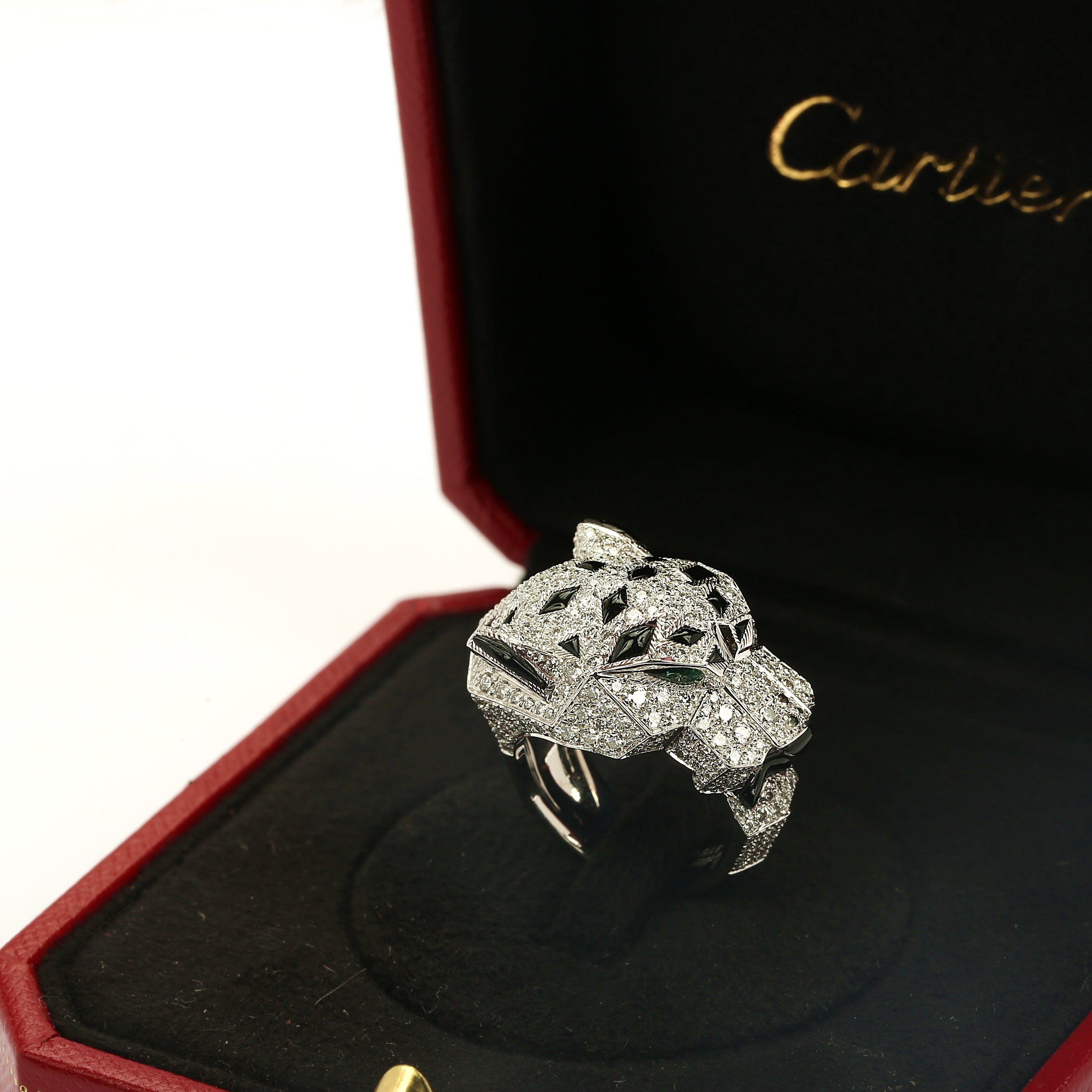 18k white gold full diamond pave onyx emerald Panthere de Cartier ring size 50EU - Terrafinejewelry
