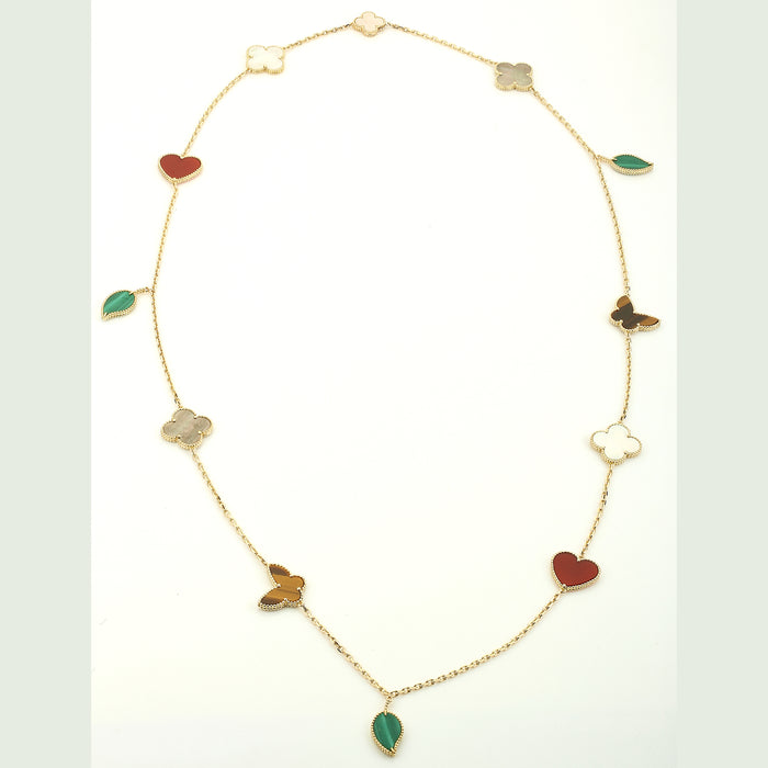 Van Cleef & Arpels Lucky Alhambra necklace 12 motifs tiger's eye malachite - Terrafinejewelry