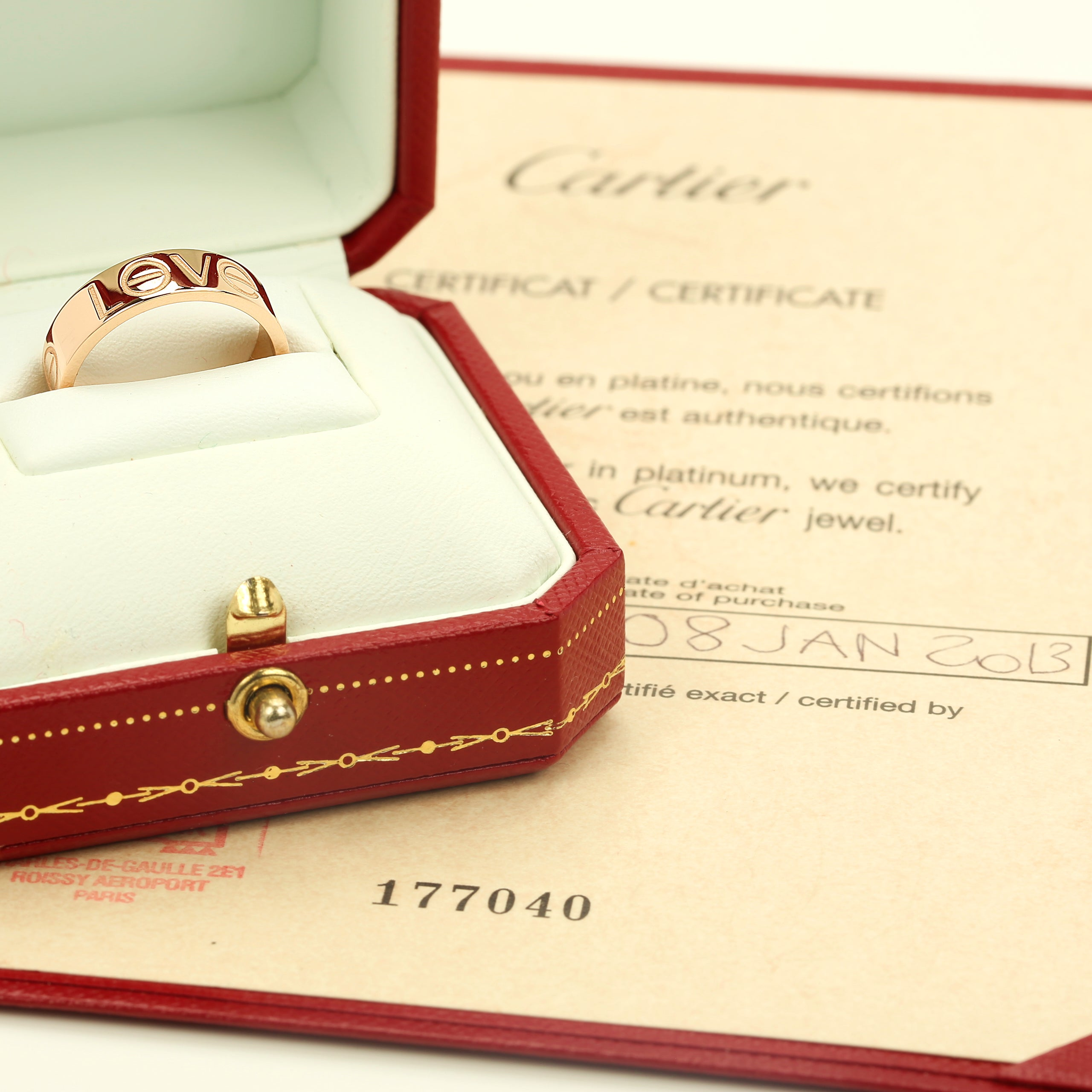18k pink/rose gold Cartier Love ring with box and papers. size 55EU 7.5US - Terrafinejewelry