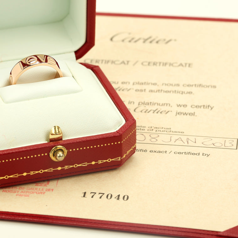 18k pink/rose gold Cartier Love ring with box and papers. size 55EU 7.5US