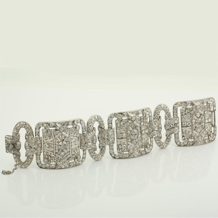 Antique Art Deco platinum and diamonds (39 ct) wide cocktail bracelet - Terrafinejewelry