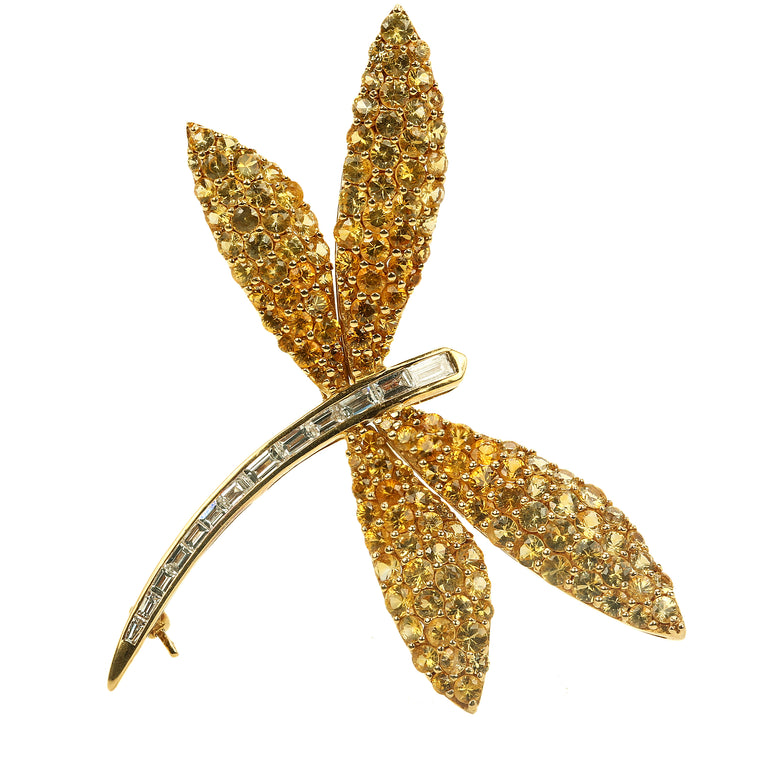 Van Cleef style dragon fly brooch in 18k yellow gold yellow sapphires & diamonds