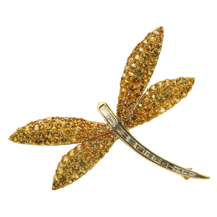 Van Cleef style dragon fly brooch in 18k yellow gold yellow sapphires & diamonds - Terrafinejewelry