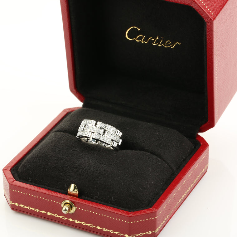 Cartier maillon panthere ring in 18k white gold and diamonds size 49EU 5US