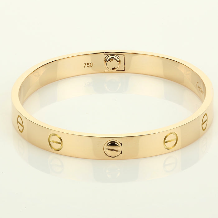 18k yellow gold Cartier love bracelet size 17 new screw style box & papers - Terrafinejewelry