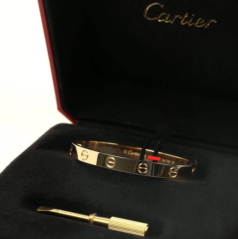 18k Yellow gold Cartier Love Bracelet size 16 new style w/ box & service invoice