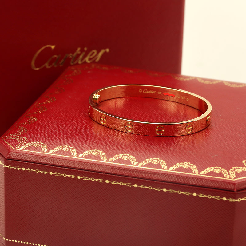 18k Yellow gold Cartier Love Bracelet size 16 new style w/ box & service invoice - Terrafinejewelry